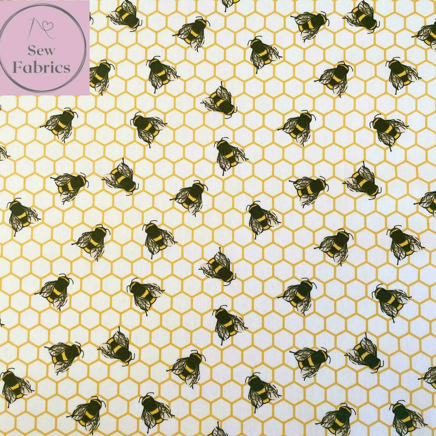 Rose and Hubble Ivory Bee Honeycomb Print Fabric 100% Cotton Poplin