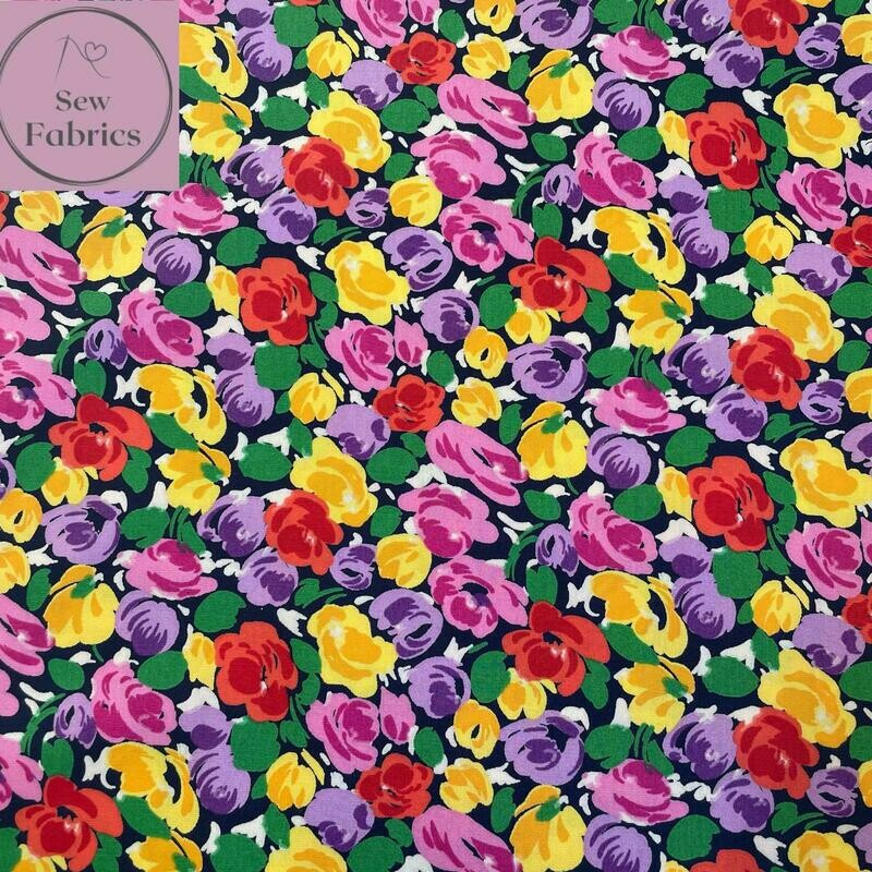 Rose & Hubble Bright Floral Print on Navy Background 100% Cotton Poplin Fabric