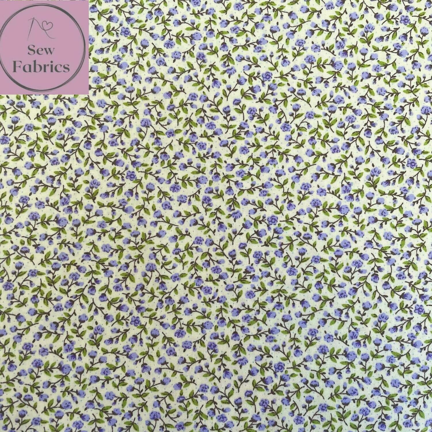 Rose and Hubble Lilac Ditsy Floral Fabric 100% Cotton Poplin Flower