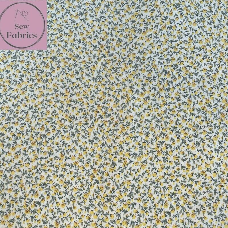 Rose and Hubble Lemon Ditsy Floral Fabric 100% Cotton Poplin Yellow Flower Material