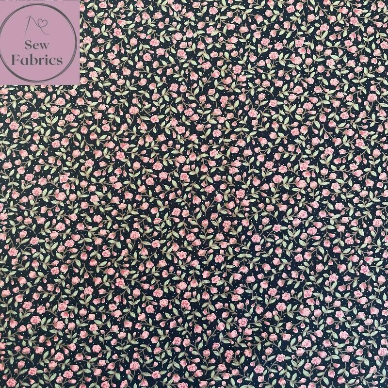 Rose and Hubble Navy Ditsy Floral Fabric 100% Cotton Poplin Flower