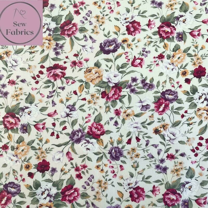 Rose & Hubble Traditional Cream Floral 100% Cotton Poplin Fabric