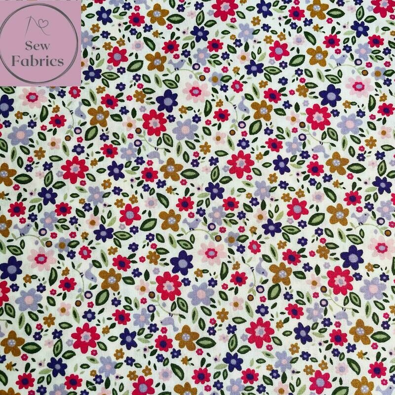 Rose and Hubble Pastel Ditsy Flowers Fabric 100% Cotton Poplin, Floral Material