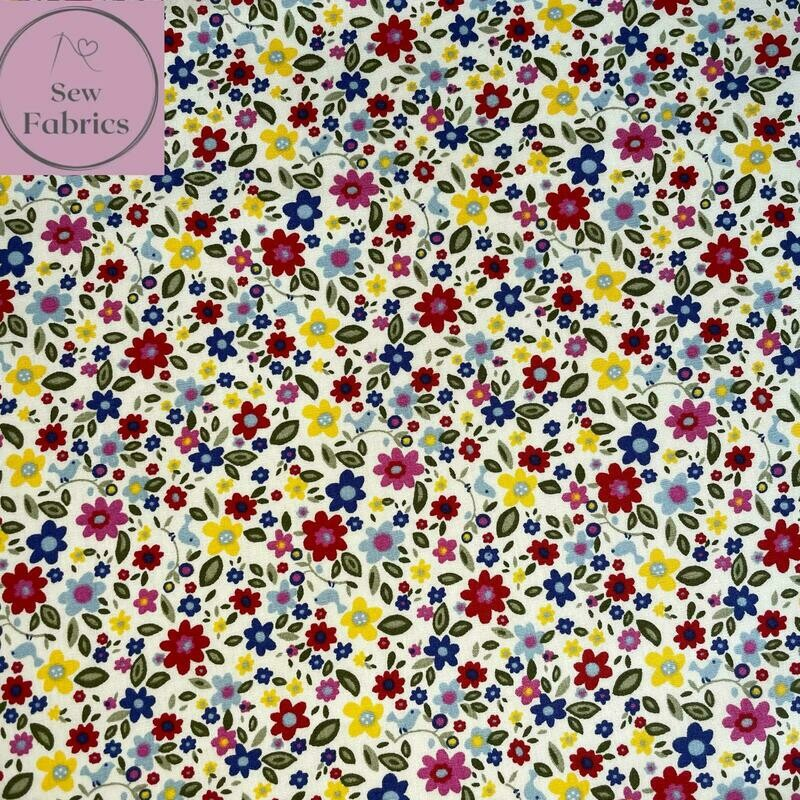 Rose and Hubble Bright Ditsy Flowers Fabric 100% Cotton Poplin, Floral Material