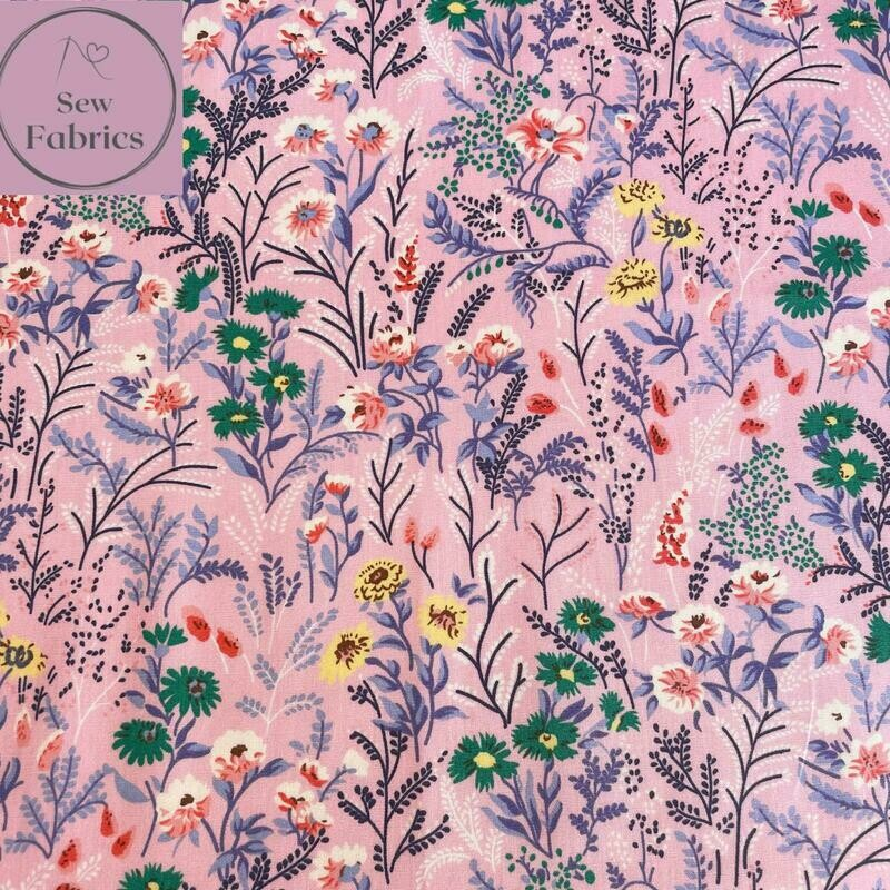 Rose & Hubble Pink Floral Delight 100% Cotton Poplin Fabric