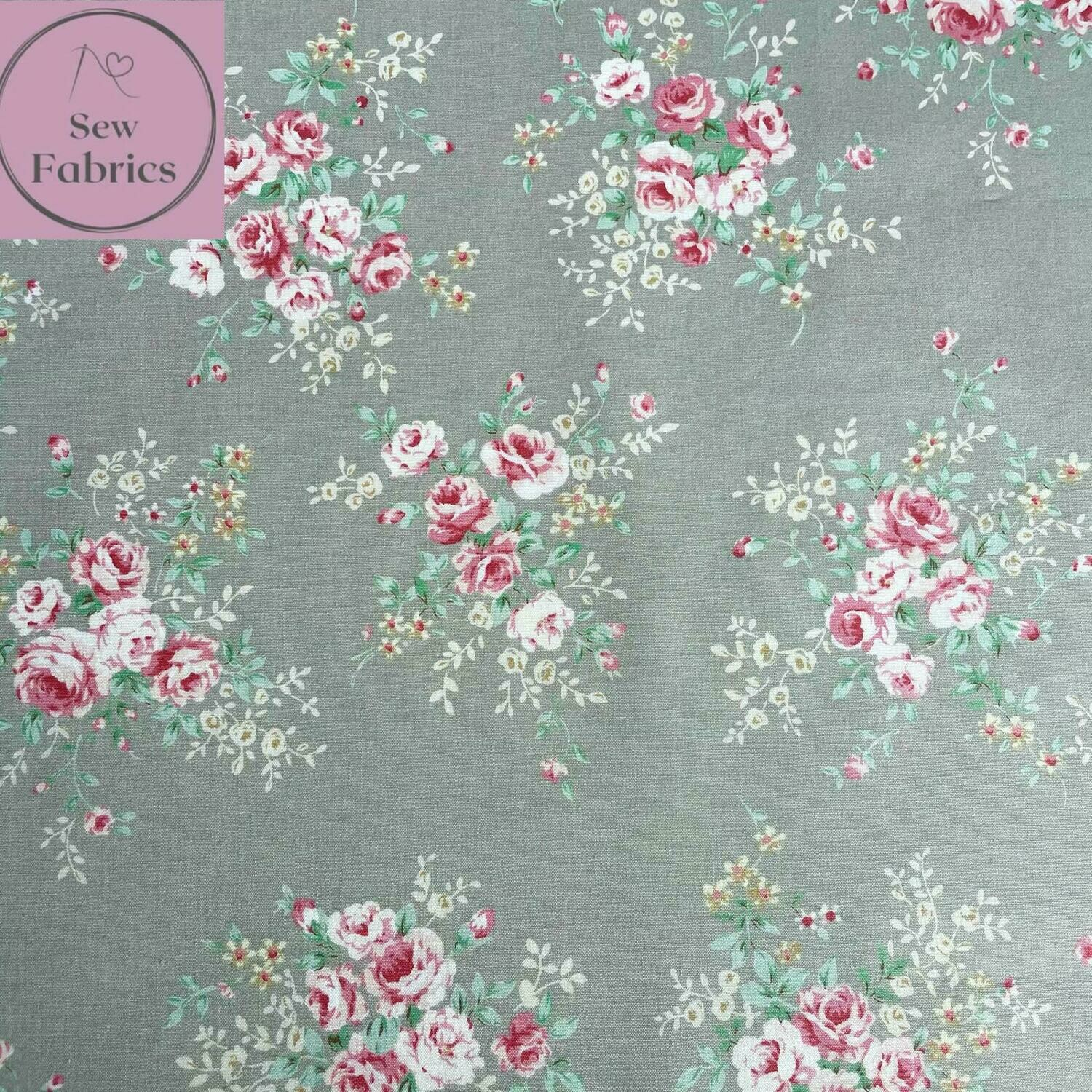 Rose & Hubble Silver Floral Fabric 100% Cotton Poplin Vintage Flower Material