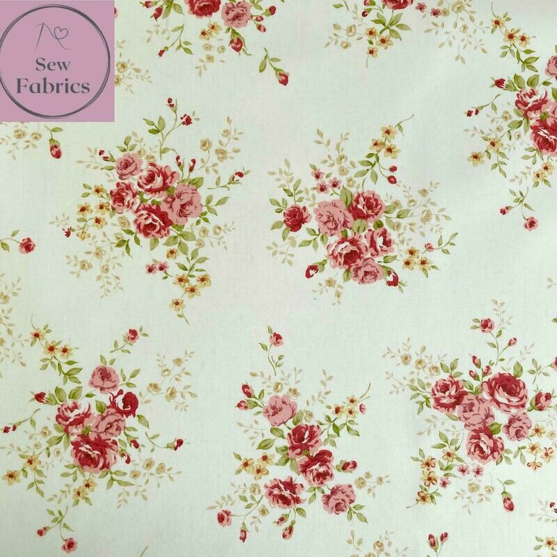 Rose & Hubble Ivory Floral Fabric 100% Cotton Poplin Cream Vintage Flower Material