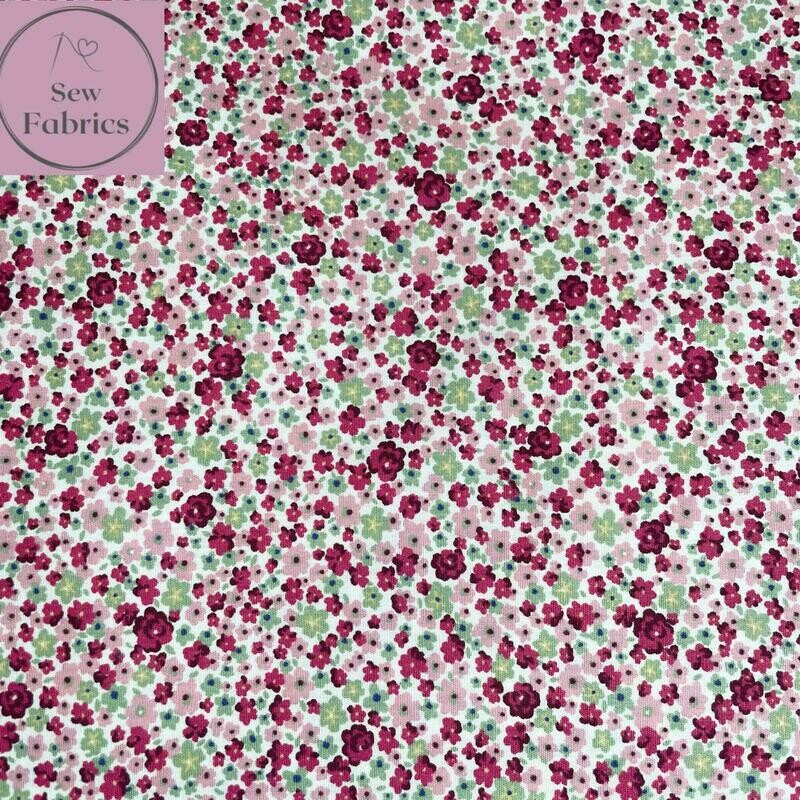 Rose and Hubble Pink Flowers Floral Fabric 100% Cotton Poplin Flower Fruit Material Sewing