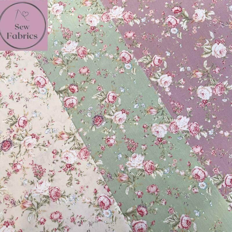 Rose & Hubble Vintage Fabric Fat Quarter Floral Bundle Rose, Green, Ivory Flower