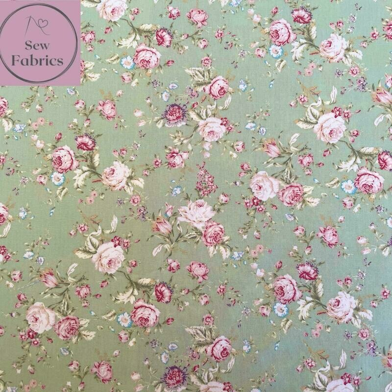 Rose and Hubble Green Vintage Floral Fabric 100% Cotton Poplin Flower Material Sewing