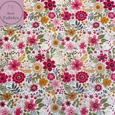 Rose & Hubble Pretty Petals Floral Print 100% Cotton Poplin Fabric