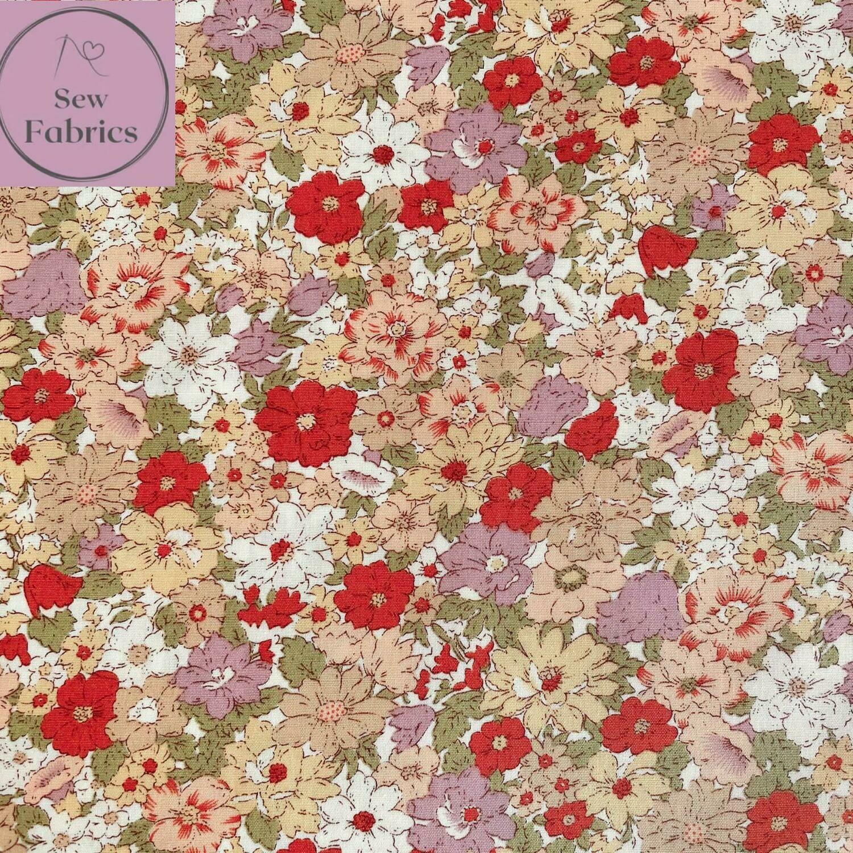 Rose & Hubble Orange Autumn Flowers 100% Cotton Poplin Fabric