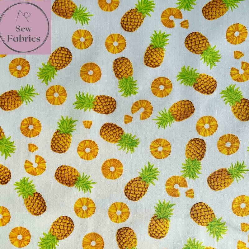 Rose and Hubble Ivory Pineapple Print Fabric 100% Cotton Poplin
