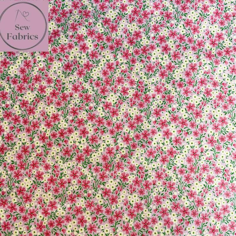 Rose & Hubble Pink Ditsy Flowers Floral Fabric 100% Cotton Poplin, Flower Material