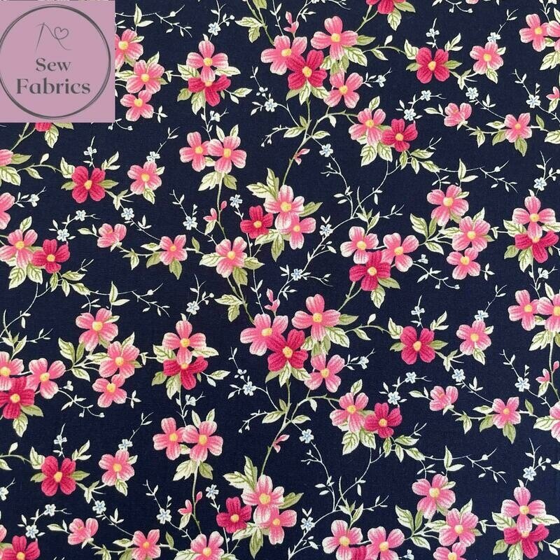 Rose & Hubble Navy Trailing Flowers Floral Fabric 100% Cotton Poplin, Flower Material