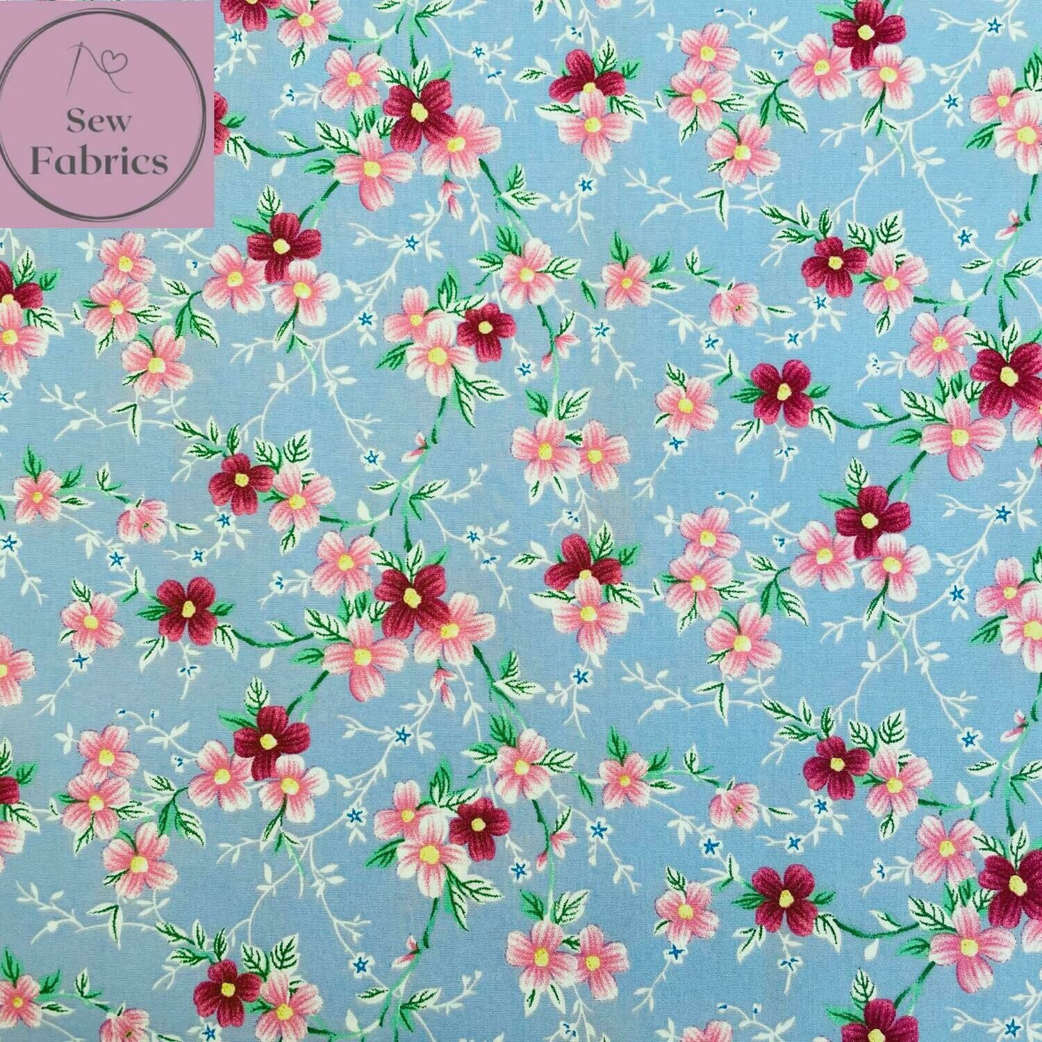 Rose & Hubble Sky Blue Trailing Flowers Floral Fabric 100% Cotton Poplin, Flower Material