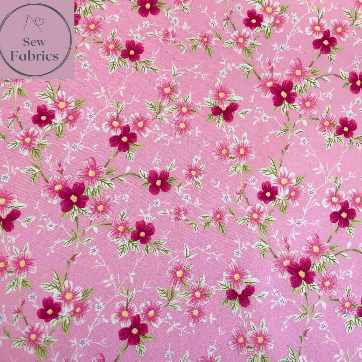 Rose & Hubble Pink Trailing Flowers Floral Fabric 100% Cotton Poplin, Flower Material