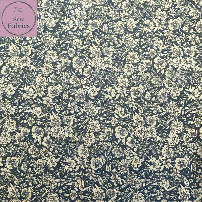Rose & Hubble Grey Classic Floral 100% Cotton Poplin Fabric