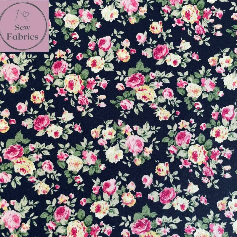 Rose and Hubble Navy Bunch of Peonies Floral Fabric Vintage Floral 100% Cotton Poplin Flower Material Sewing