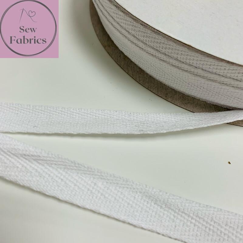 10mts x Bertie's Bows White 15mm Cotton Herringbone Webbing Tape