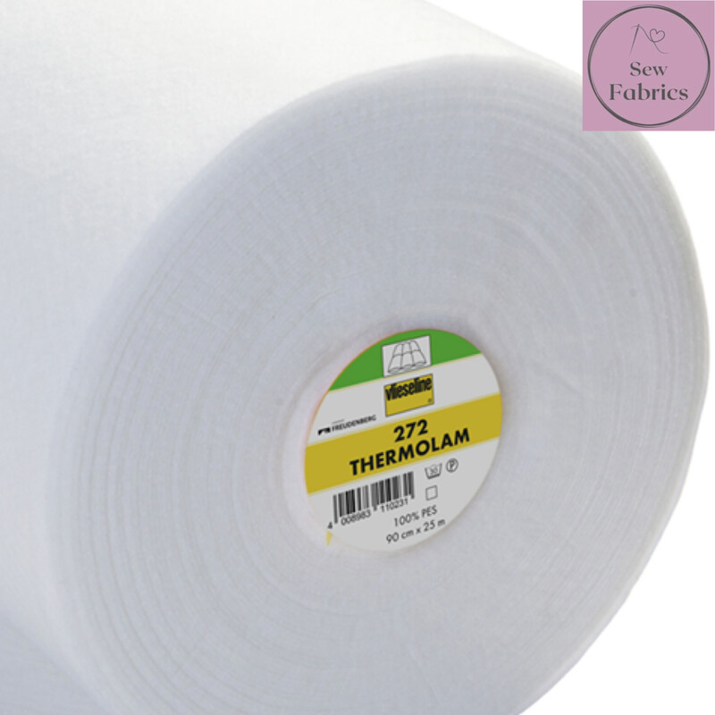 1m x White Thermolam 272 Compressed Fleece Sew-In, 90cm Wide by Vilene Vlieseline