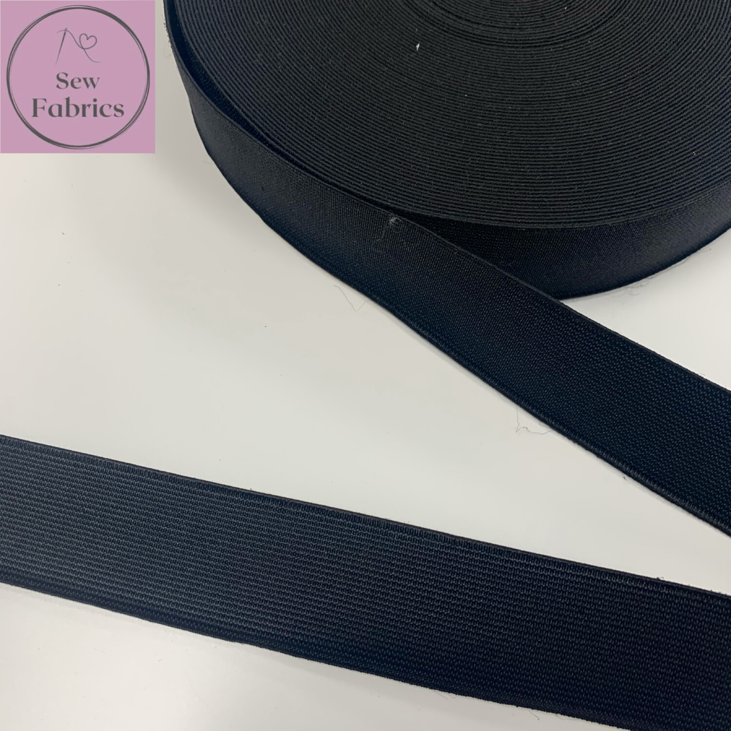 25mts roll of 32mm Black Woven Insert Waistband Cord Elastic