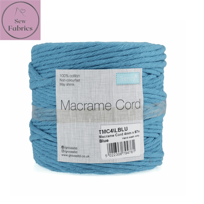 4mm Blue Trimits Macrame Cord, 100% Cotton, String, Craft, Made in UK, 87m Spool