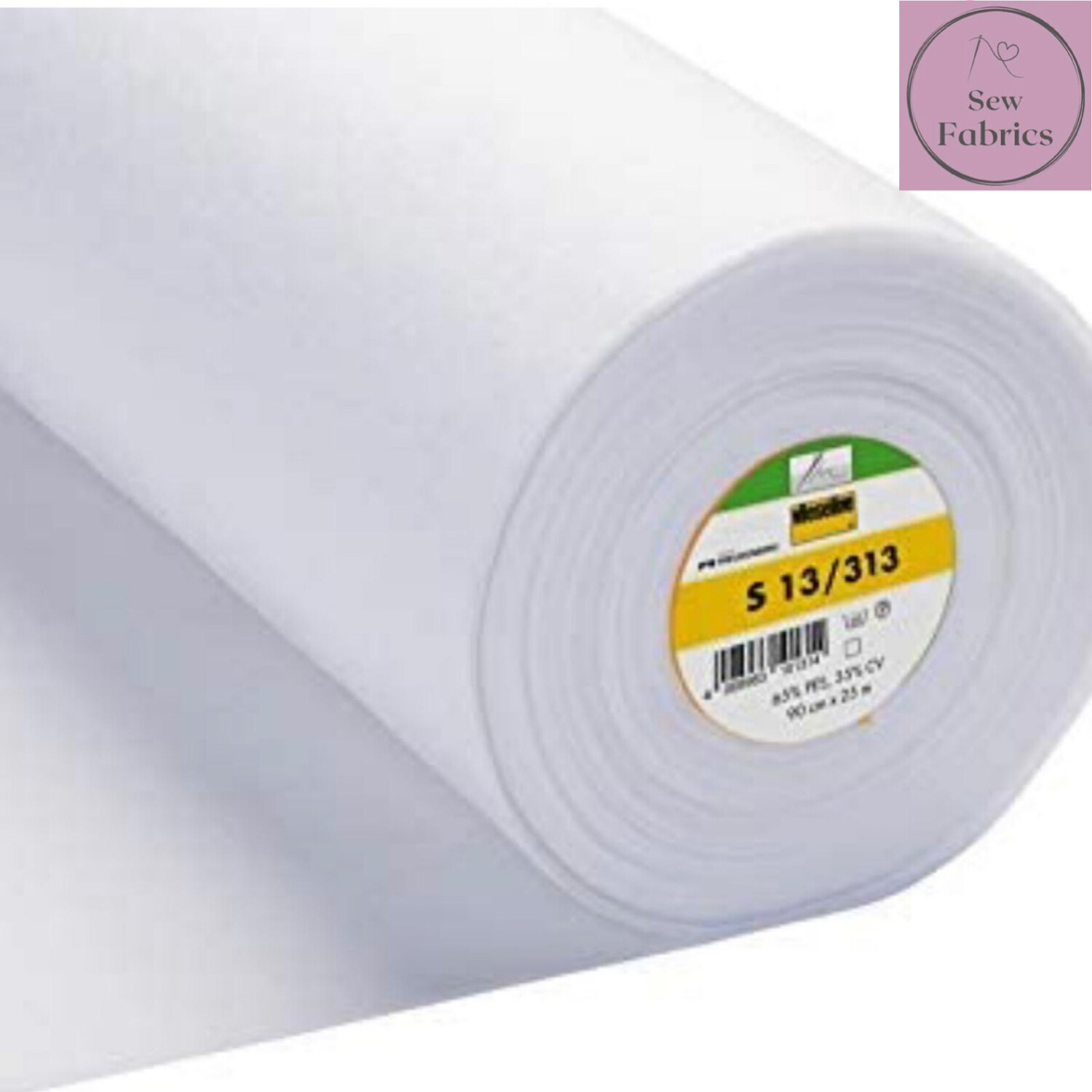 1m x White Heavyweight Standard Sew-in Non Woven Interfacing/Interlining 90cm Wide by Vilene Vlieseline, for stiffening fabrics