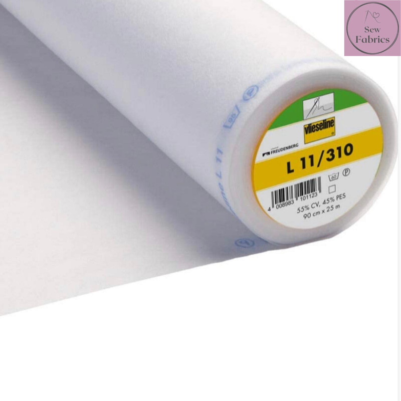 1m x White Lightweight Standard Sew-in Non Woven Interfacing/Interlining 90cm Wide by Vilene Vlieseline, for stiffening fabrics