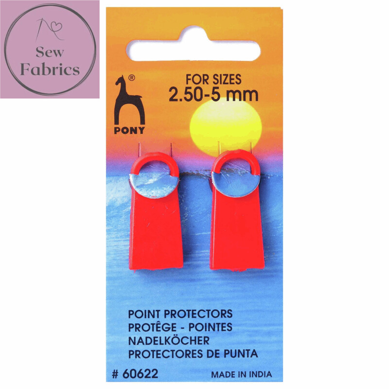2 x Pony Point Protectors, Red Silicone Knitting Needle Point Protectors 2.5 - 5mm