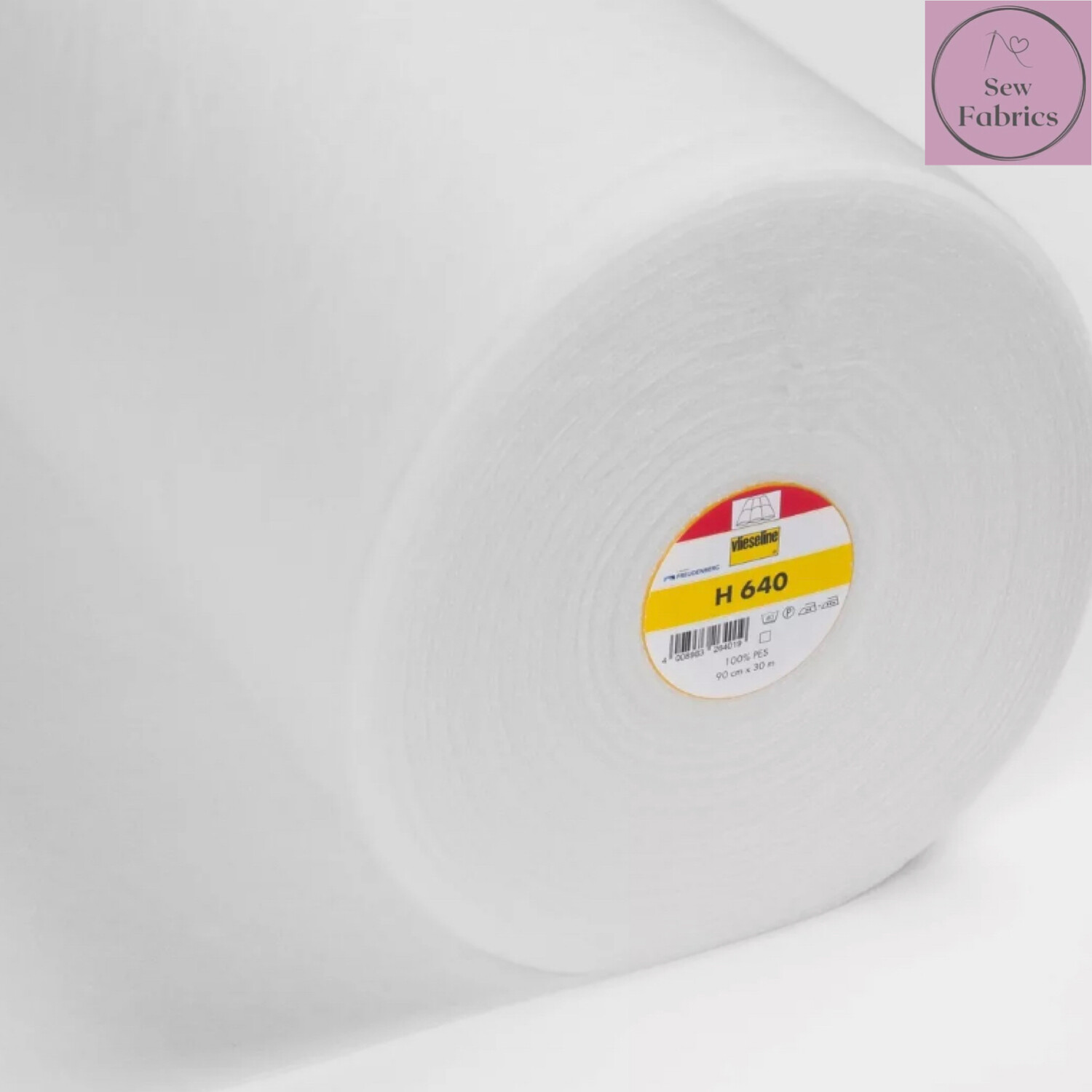 1m x White Medium Loft Fusible Fleece Wadding / Batting, 90cm Wide by Vilene Vlieseline, for applique and clothing applications. H640
