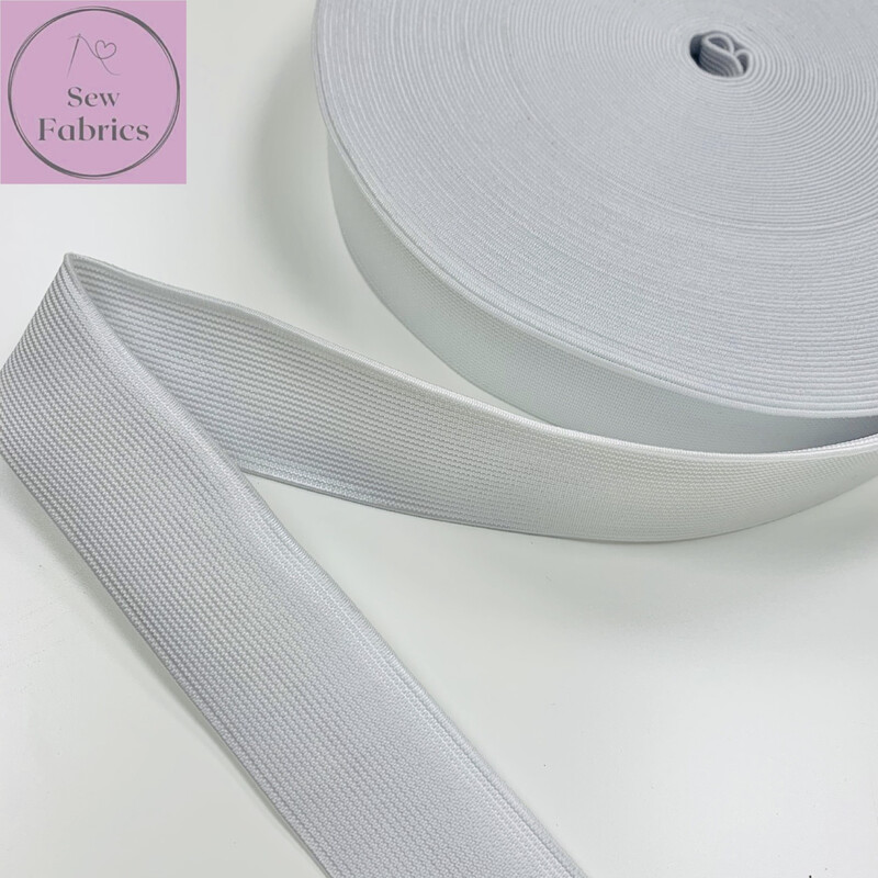 25mts roll of 32mm White Woven Insert Waistband Cord Elastic
