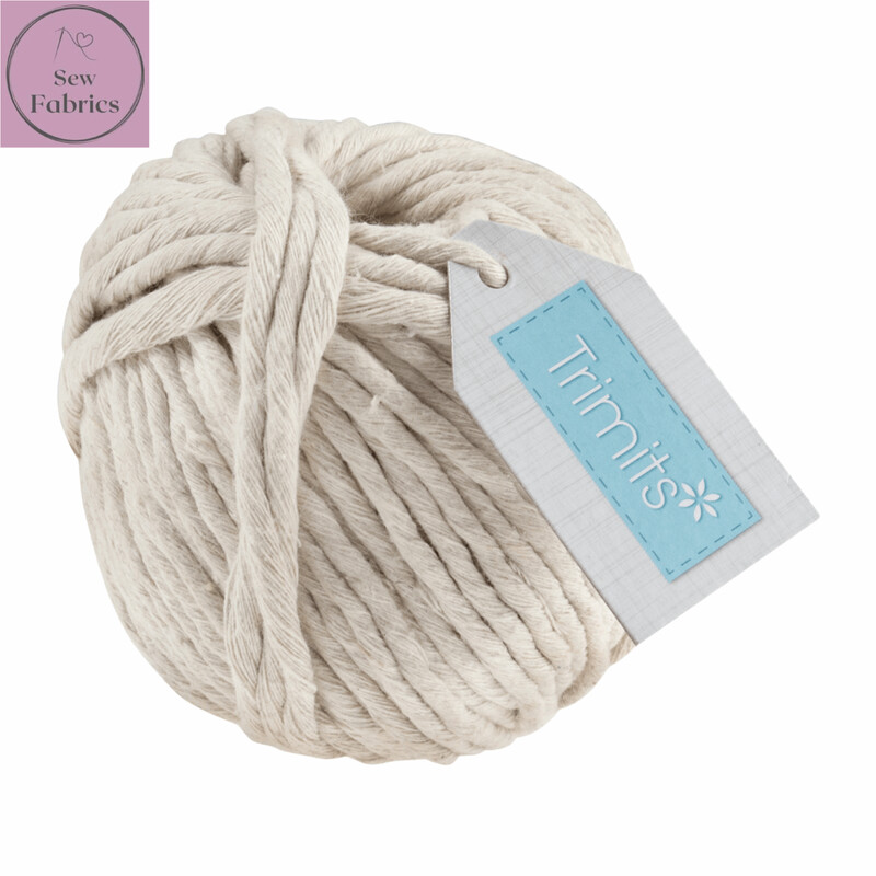 4mm Natural Trimits Macrame Cord, 100% Cotton Beige String for Craft, Made in UK, 50m Spool