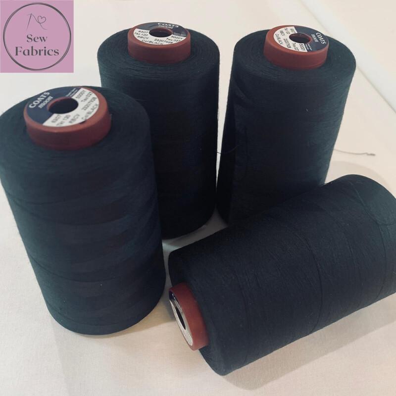 5000y Moon Polyester Thread Cones, Overlocker - Black