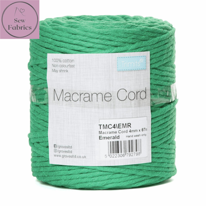 4mm Green Trimits Macrame Cord, 100% Cotton, String, Craft, Made in UK, 87m Spool