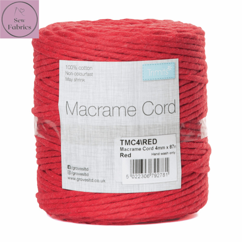 4mm Red Trimits Macrame Cord, 100% Cotton, String, Craft, Made in UK, 87m Spool