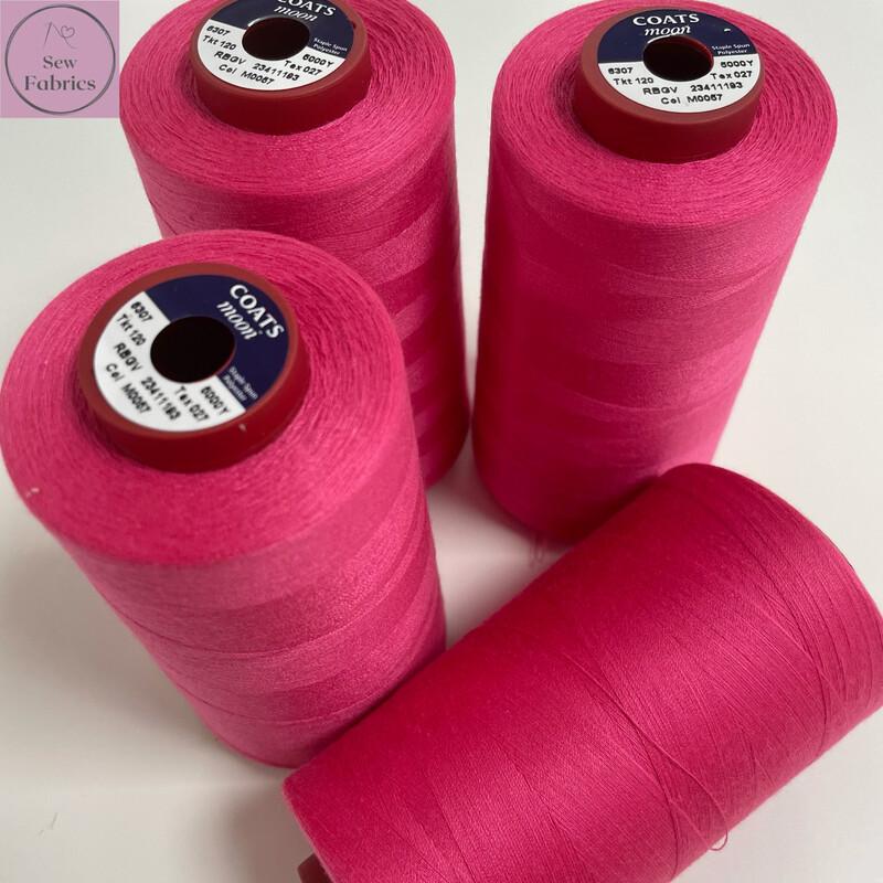 5000y Moon Polyester Thread Cone, Overlocker - Bright Pink M057