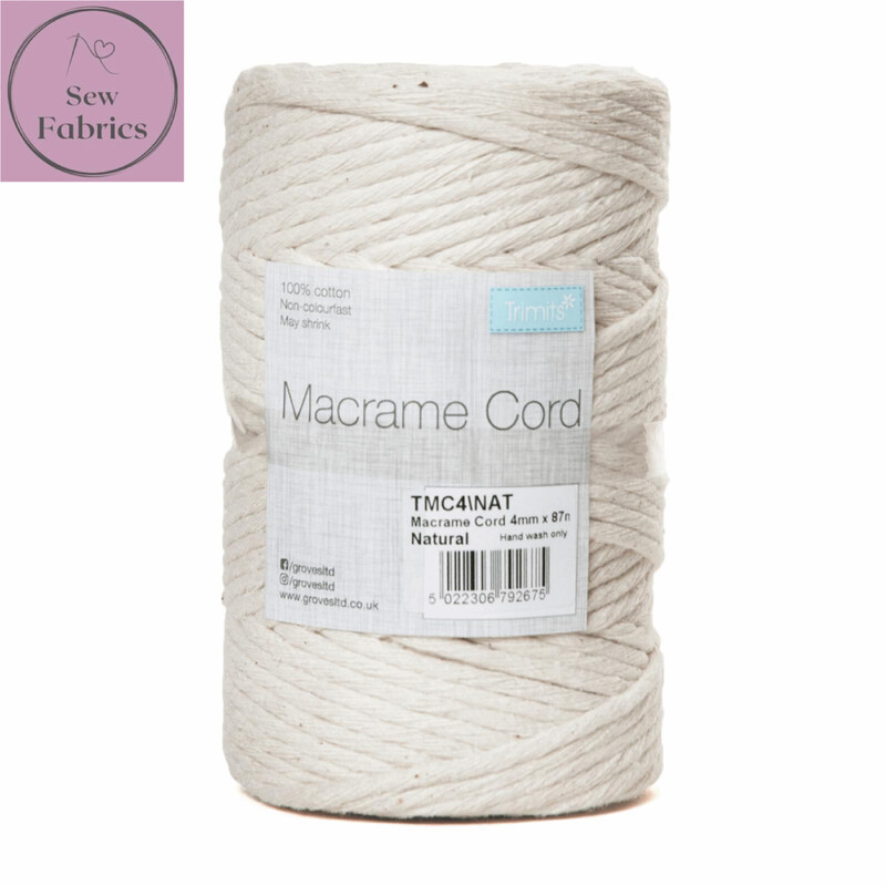 4mm Natural Trimits Macrame Cord, 100% Cotton Beige String for Craft, Made in UK, 87m Spool