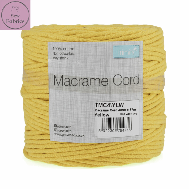 4mm Yellow Trimits Macrame Cord, 100% Cotton, String, Craft, Made in UK, 87m Spool