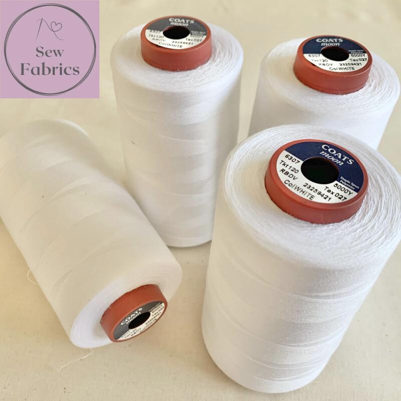 5000y Moon Polyester Thread Cones, Overlocker - White