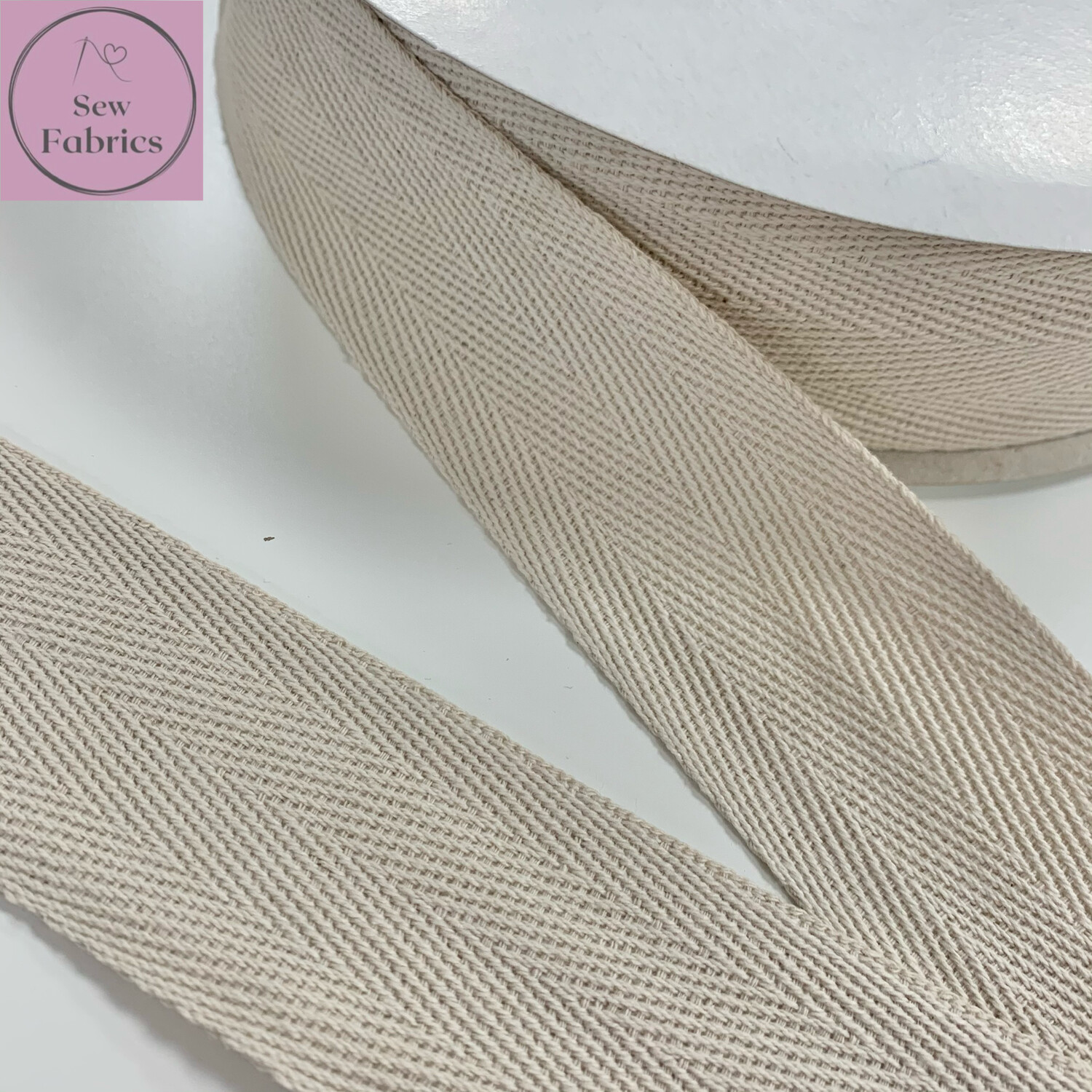 5mts x Bertie's Bows Light Natural 40mm Cotton Herringbone Webbing Tape