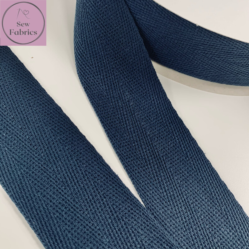 5mts x Bertie's Bows Navy Blue 40mm Cotton Herringbone Webbing Tape