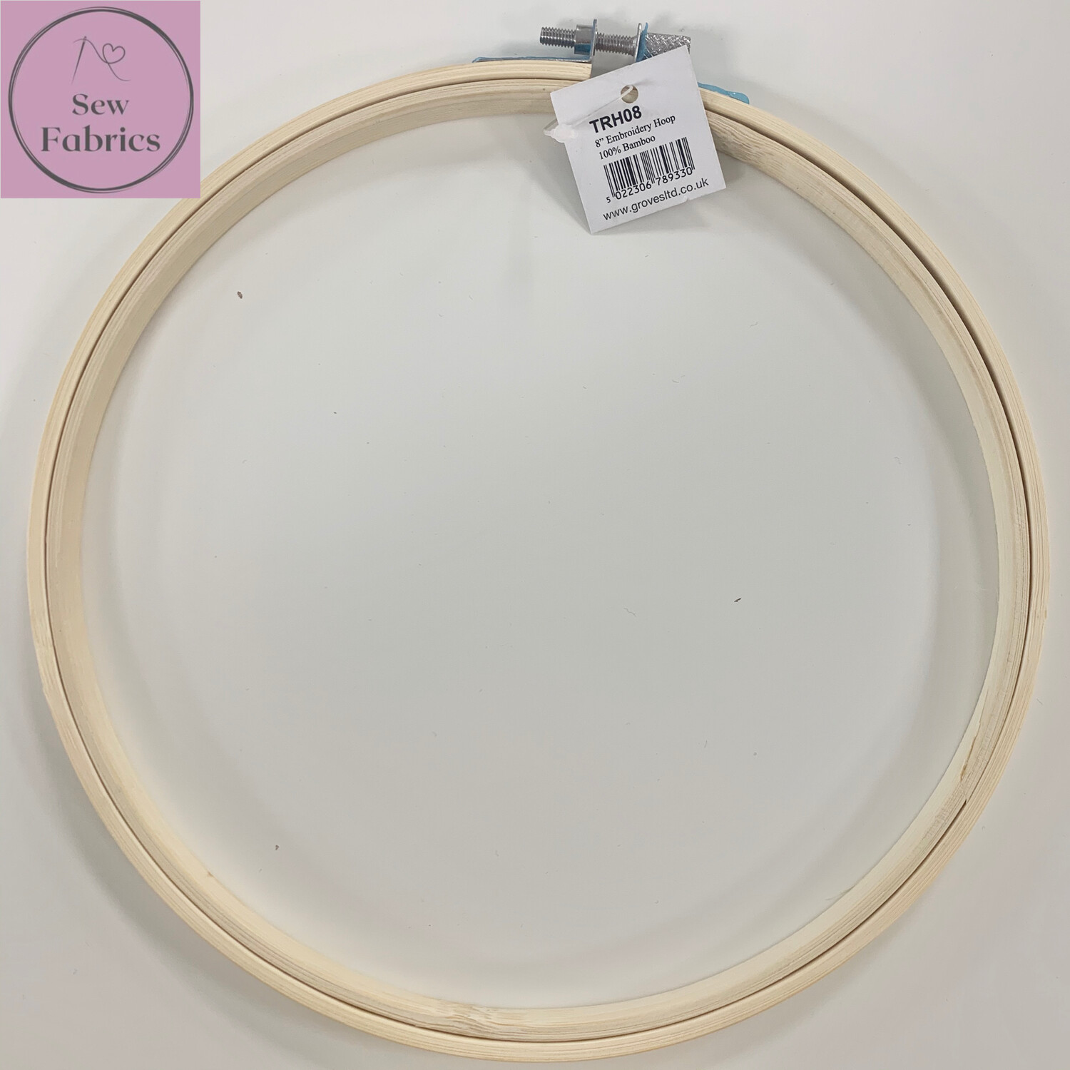 """8"""" Embroidery, Sewing Bamboo Hoop With Silver Screw Clasp"""