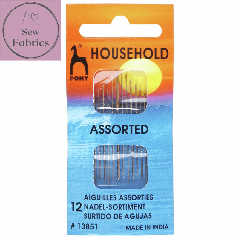12pc Pony Gold Eye Assorted Household Sewing Needles