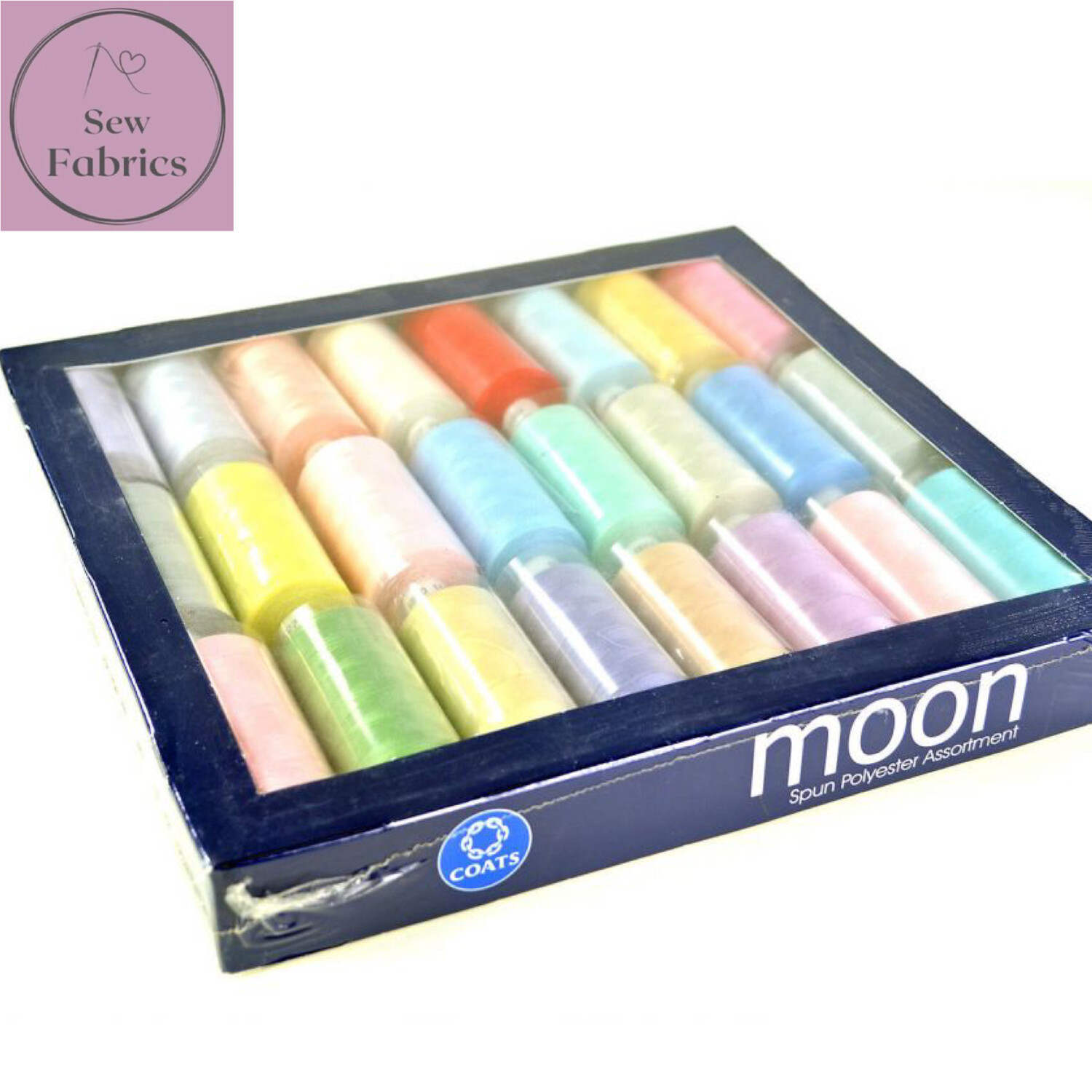 Coats Light Assorted Colour Moon Polyester Sewing Thread Set 1000yds x 24 reels