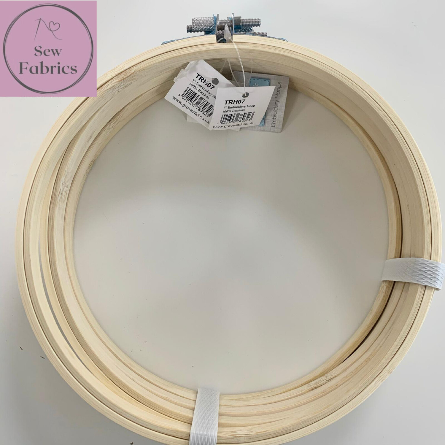 "Set of 5 x 7"" Embroidery, Sewing Bamboo Hoop With Silver Screw Clasp"