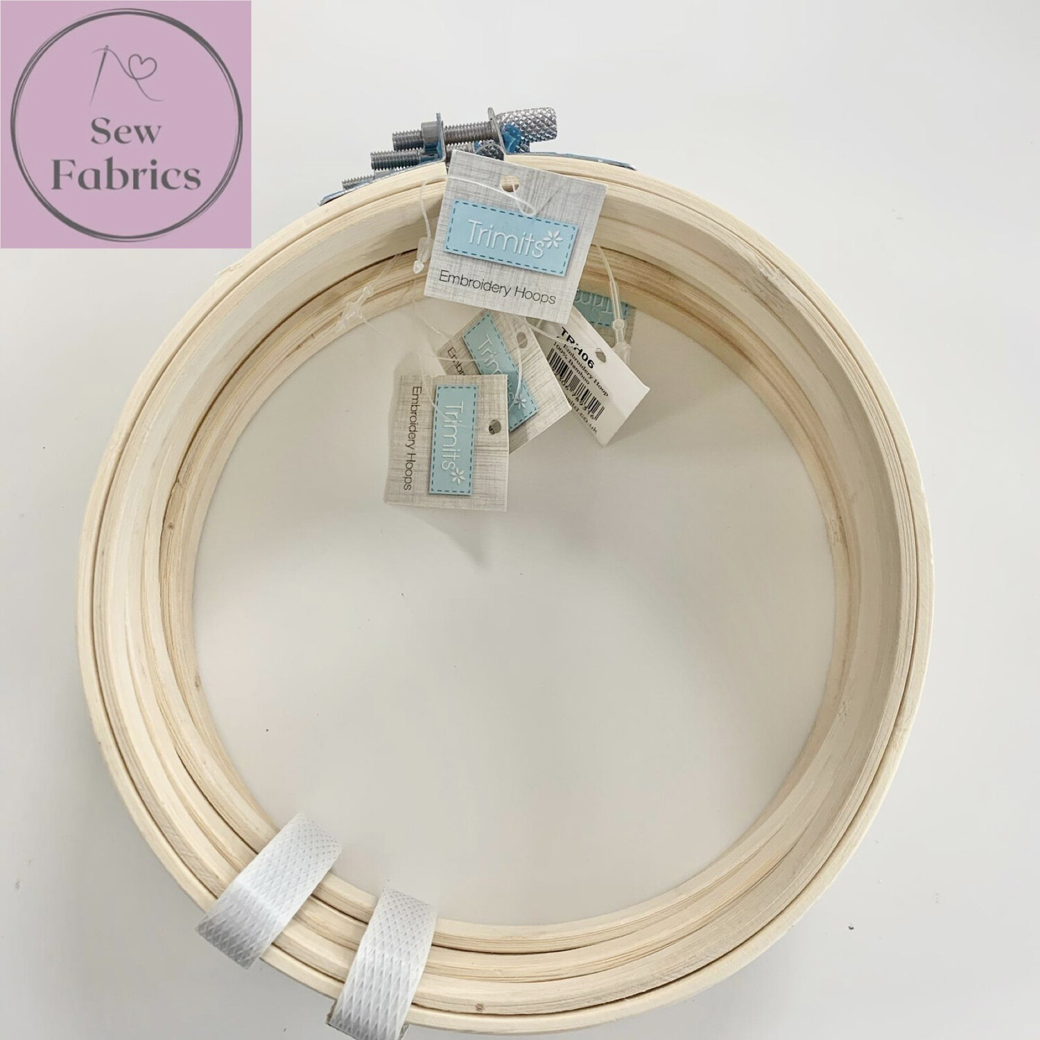 """Set of 5 x 6"""" Embroidery, Sewing Bamboo Hoops With Silver Screw Clasp"""