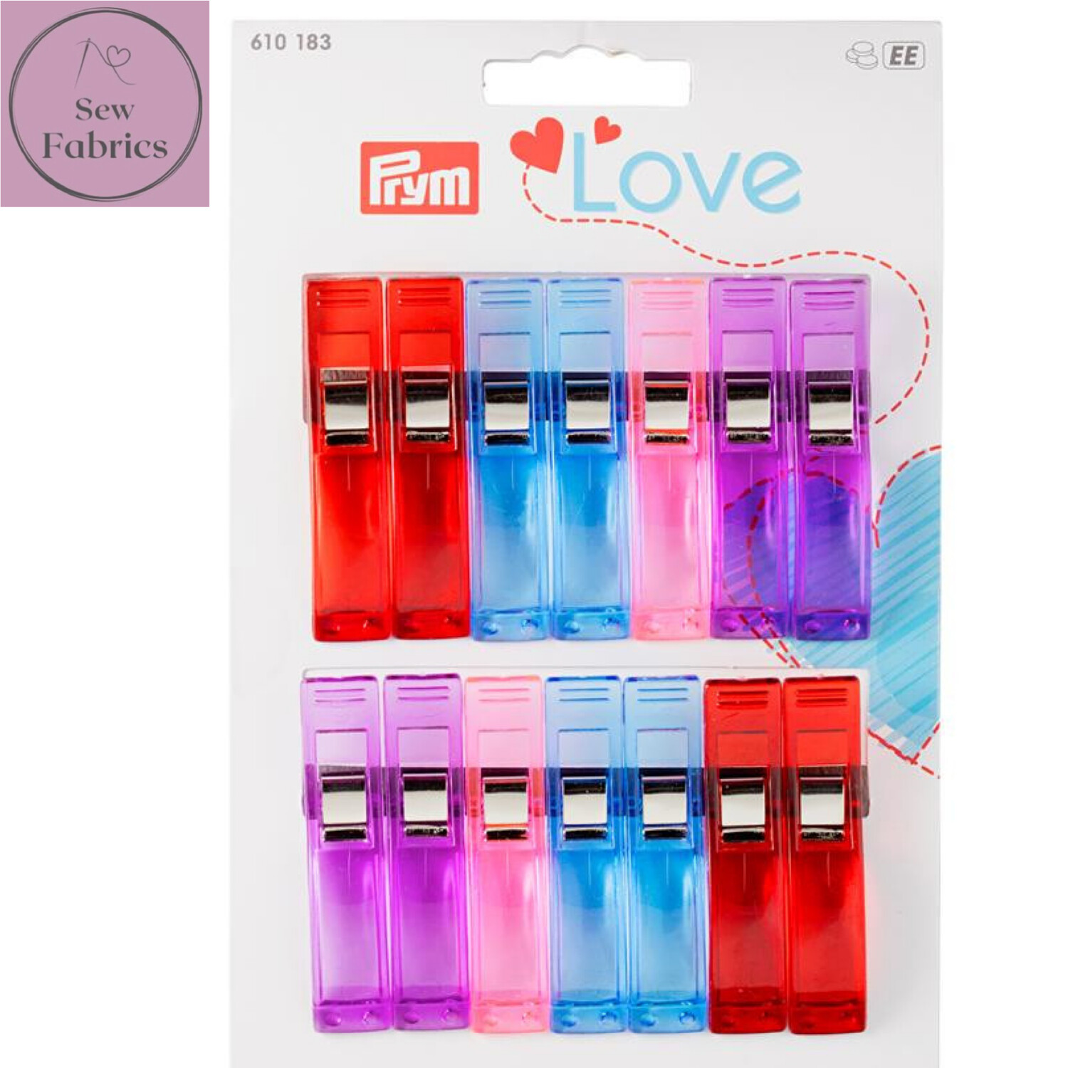 Prym Love Fabric Clips 5.5cm - Assorted Colours