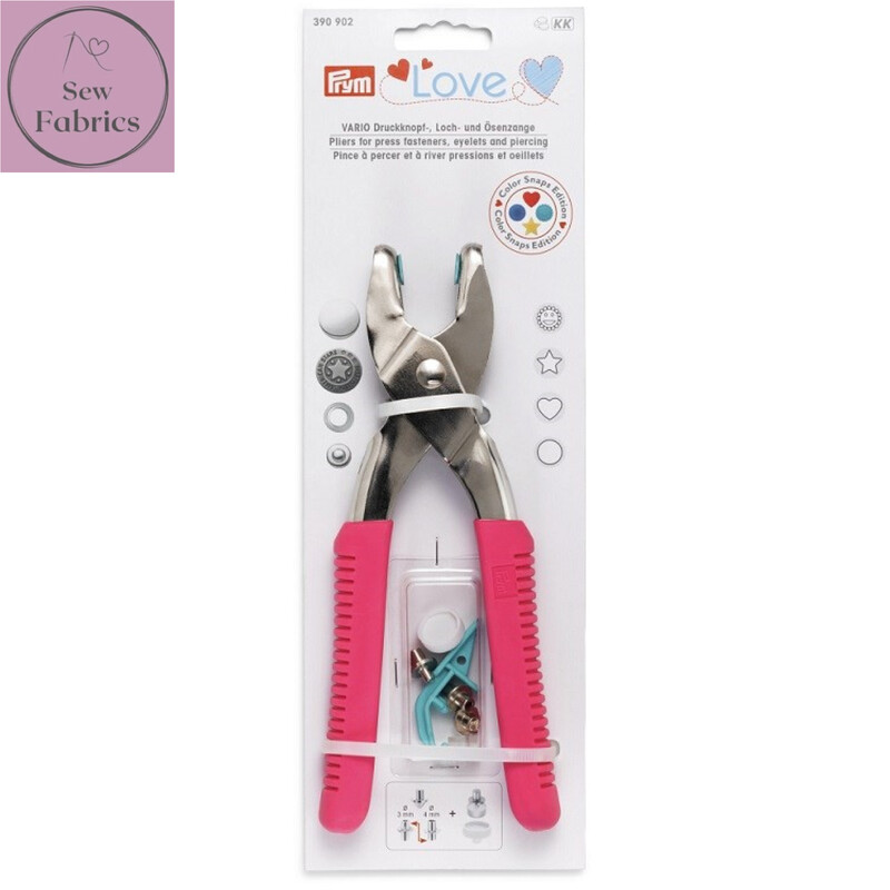 Prym Love Vario Pliers for Press Fasteners, Eyelets and Piercing, Sewing, Dressmaking, Quilting Accessory, Pink.