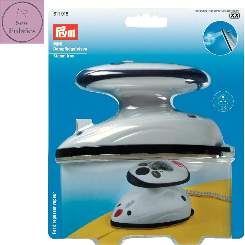 Prym Steam Mini Iron with UK Plug, White Craft Iron for Patchwork, Quilting and Seams